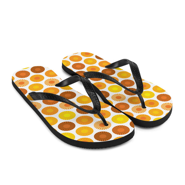 Mid Century Modern Orange FlowerPower Flip-Flops Down view