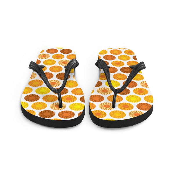 Mid Century Modern Orange FlowerPower Flip-Flops Front view