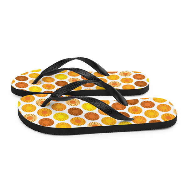 Mid Century Modern Orange FlowerPower Flip-Flops Side view