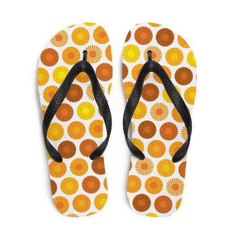 Mid Century Modern Orange FlowerPower Flip-Flops Top view