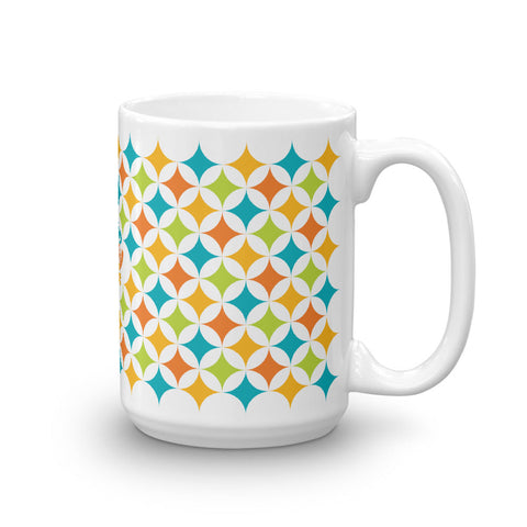 Mid Century Modern Multicolour Astroids 15oz Mug side view