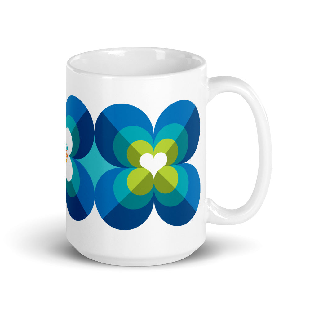 Mid Century Modern Aqua Blue LoverLeaf 15oz Mug side view