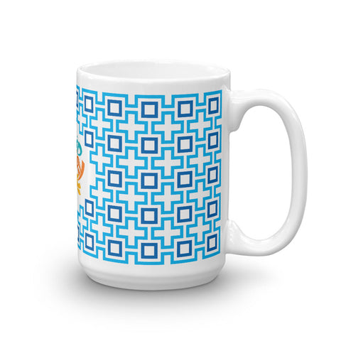 Mid Century Modern Blue TikiMaze 15oz Mug side view