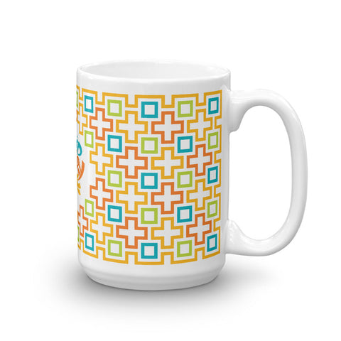Mid Century Modern Multicolour TikiMaze 15oz Mug side view