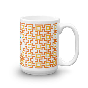 Mid Century Modern Orange TikiMaze 15oz Mug side view