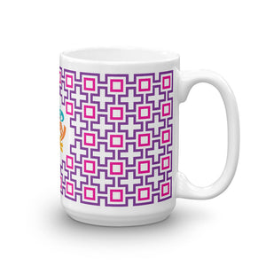 Mid Century Modern Purple TikiMaze 15oz Mug side view