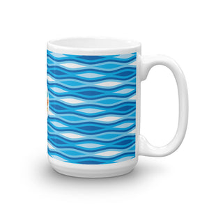 Mid Century Modern Blue TopperWaves 15oz Mug side view