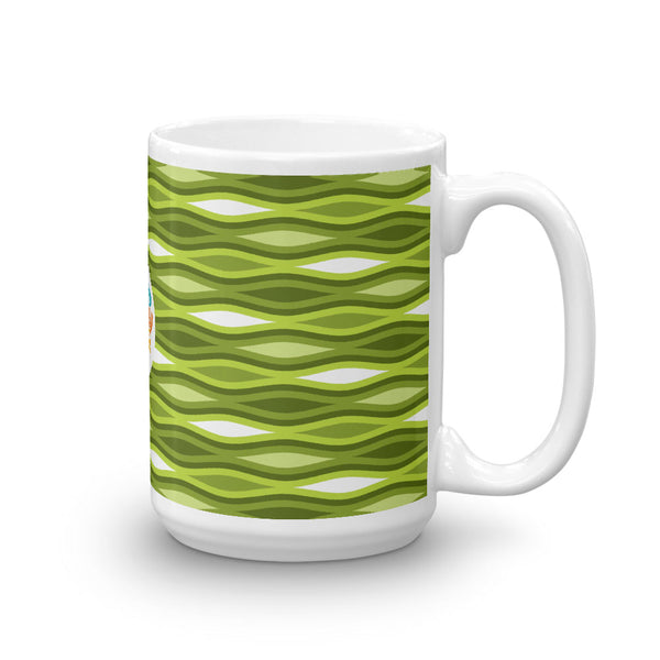 Mid Century Modern Green TopperWaves 15oz Mug side view