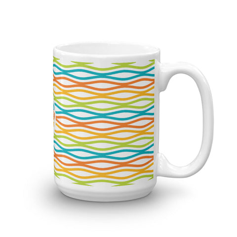 Mid Century Modern Multicolour TopperWaves 15oz Mug side view