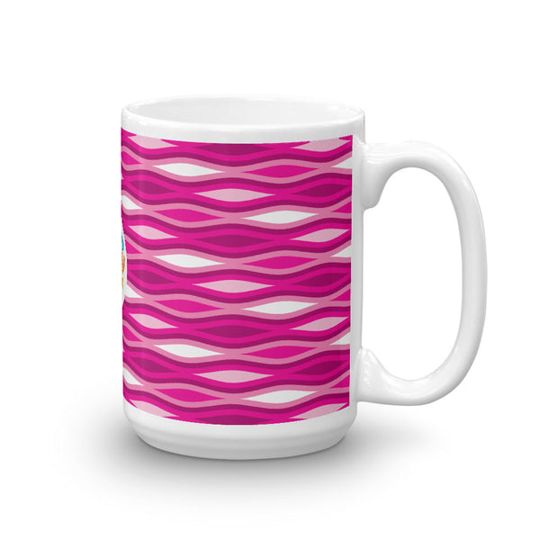 Mid Century Modern Pink TopperWaves 15oz Mug side view