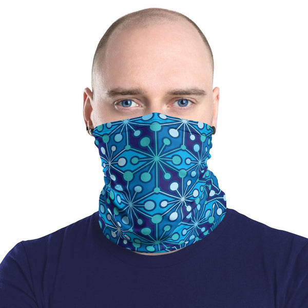 Mid Century Modern Blue PsychoFlakes Neck Gaiter Face Covering man front view