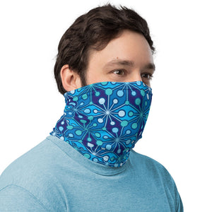 Mid Century Modern Blue PsychoFlakes Neck Gaiter Face Covering man side view