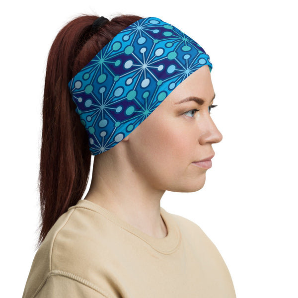 Mid Century Modern Blue PsychoFlakes Neck Gaiter Face Covering woman headband