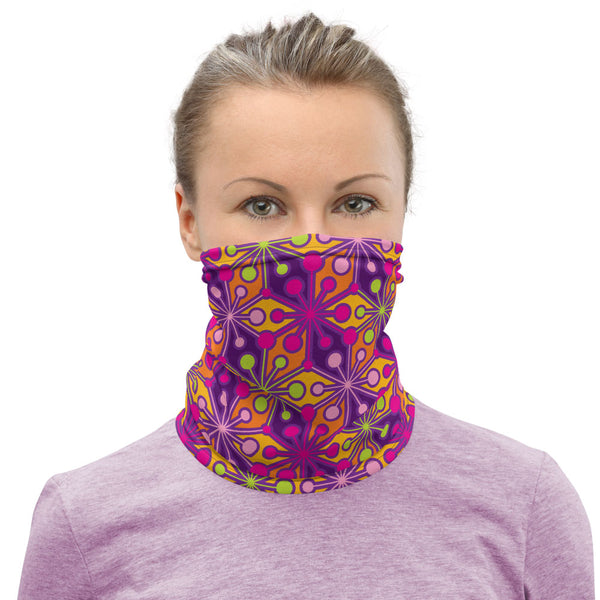 Mid Century Modern Multicolour PsychoFlakes Neck Gaiter Face Covering woman front view