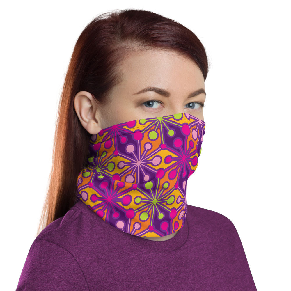 Mid Century Modern Multicolour PsychoFlakes Neck Gaiter Face Covering woman side view