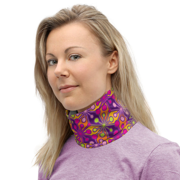 Mid Century Modern Multicolour PsychoFlakes Neck Gaiter Face Covering woman neck warmer