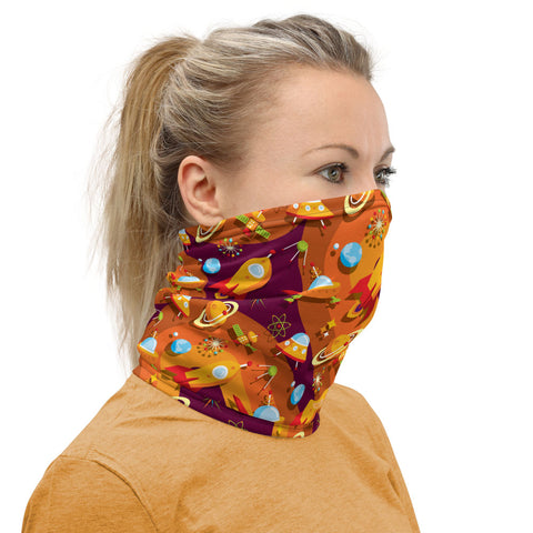 Mid Century Modern Orange Yellow SpaceCadet Neck Gaiter Face Covering side view
