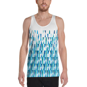 Mid Century Modern Blue LozAnges Men's Tank Top front view