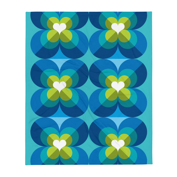 "Mid Century Modern Aqua Blue LoverLeaf 50"" x 60"" Throw Blanket flat view"