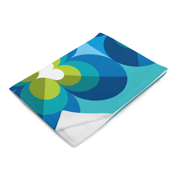 "Mid Century Modern Aqua Blue LoverLeaf 50"" x 60"" Throw Blanket folded"
