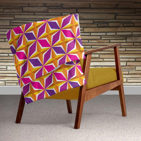 Mid Century Modern Orange Pink PolaRise Throw Blanket Style view