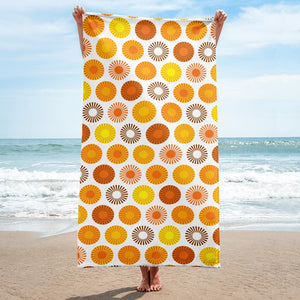 Mid Century Modern Orange FlowerPower Beach & Pool Towel