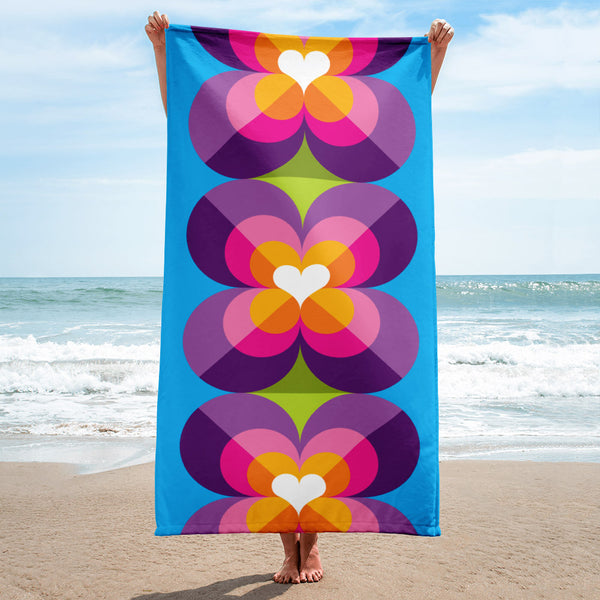 Mid Century Modern Purple Blue LoverLeaf Beach & Pool Towel