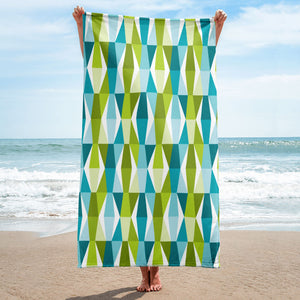 Mid Century Modern Aqua Green LozAnges Beach & Pool Towel