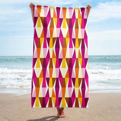 Mid Century Modern Orange Pink LozAnges Beach & Pool Towel