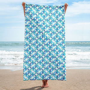 Mid Century Modern Blue PanAmTrays Beach & Pool Towel