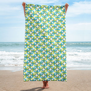 Mid Century Modern Green PanAmTrays Beach & Pool Towel