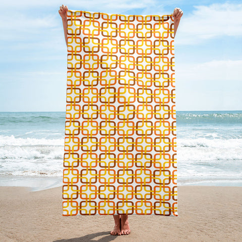 Mid Century Modern Orange PanAmTrays Beach & Pool Towel
