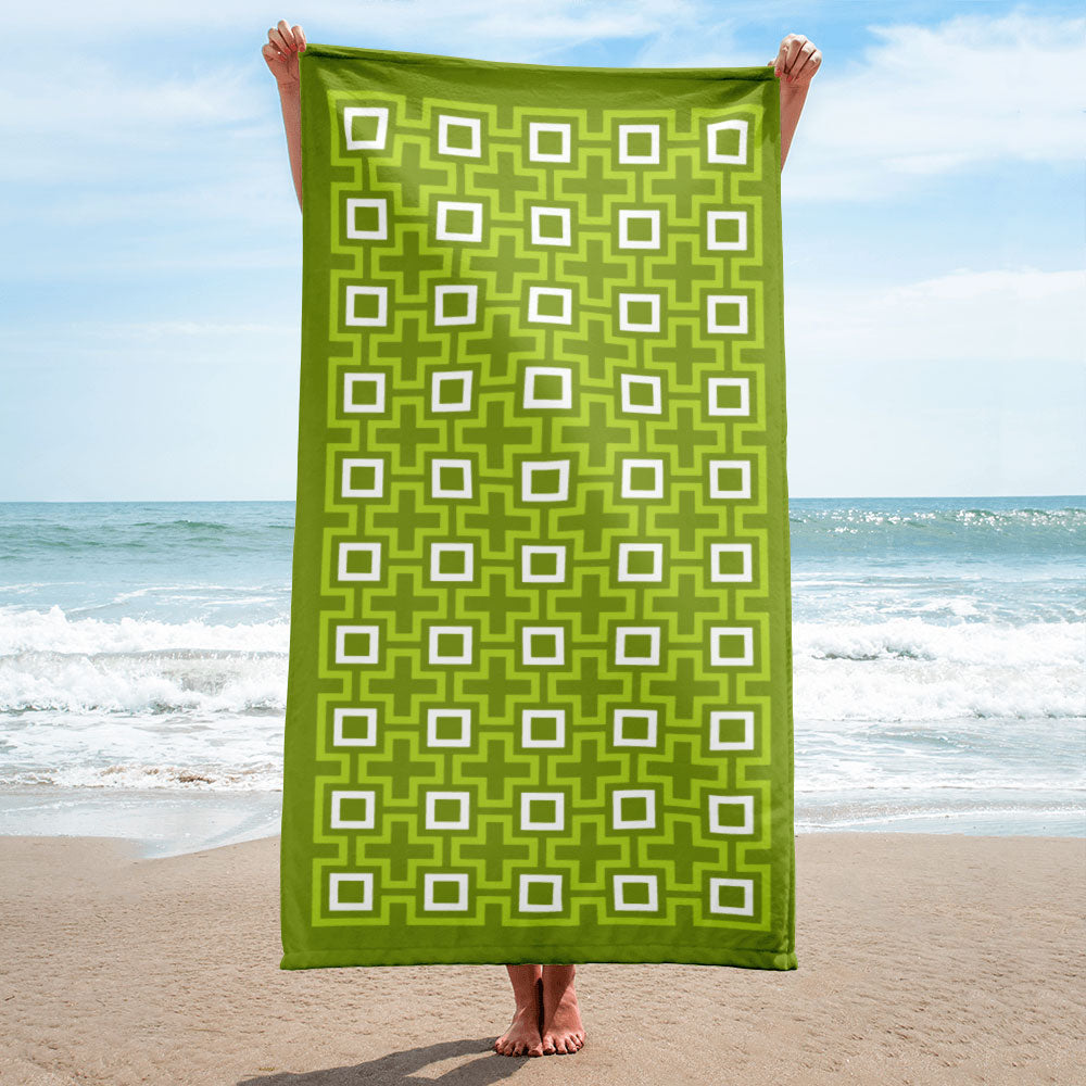 Mid Century Modern Green TikiMaze Beach & Pool Towel