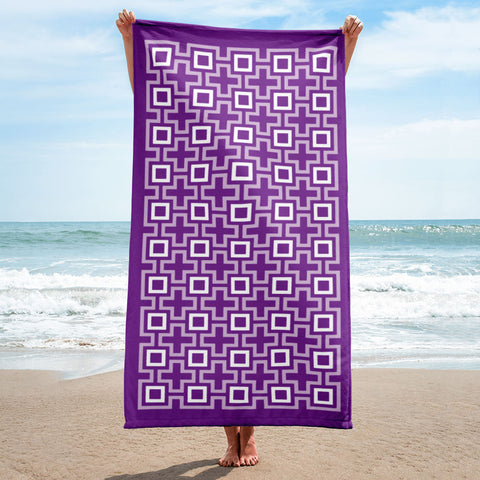 Mid Century Modern Purple TikiMaze Beach & Pool Towel