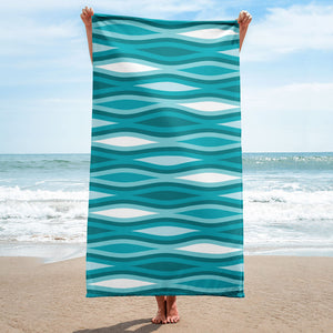 Mid Century Modern Aqua TopperWaves Beach & Pool Towel