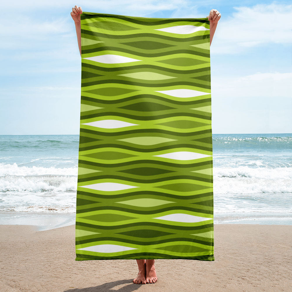 Mid Century Modern Green TopperWaves Beach & Pool Towel