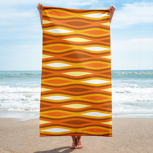Mid Century Modern Orange TopperWaves Beach & Pool Towel