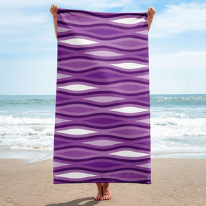 Mid Century Modern Purple TopperWaves Beach & Pool Towel