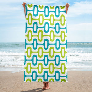 Mid Century Modern Aqua ZipperDee Beach & Pool Towel