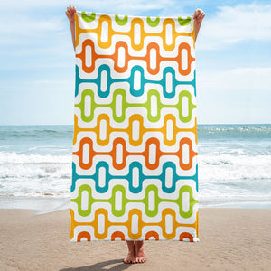 Mid Century Modern Multicolour ZipperDee Beach & Pool Towel
