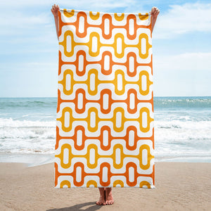 Mid Century Modern Orange ZipperDee Beach & Pool Towel