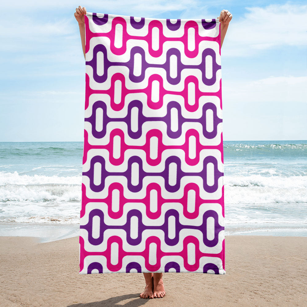 Mid Century Modern Pink ZipperDee Beach & Pool Towel