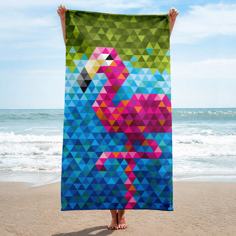 Mid Century Modern Flamingo Beach & Pool Towel