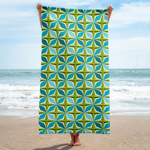 Mid Century Modern Aqua Green PolaRise Beach & Pool Towel