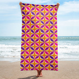 Mid Century Modern Orange Pink PolaRise Beach & Pool Towel