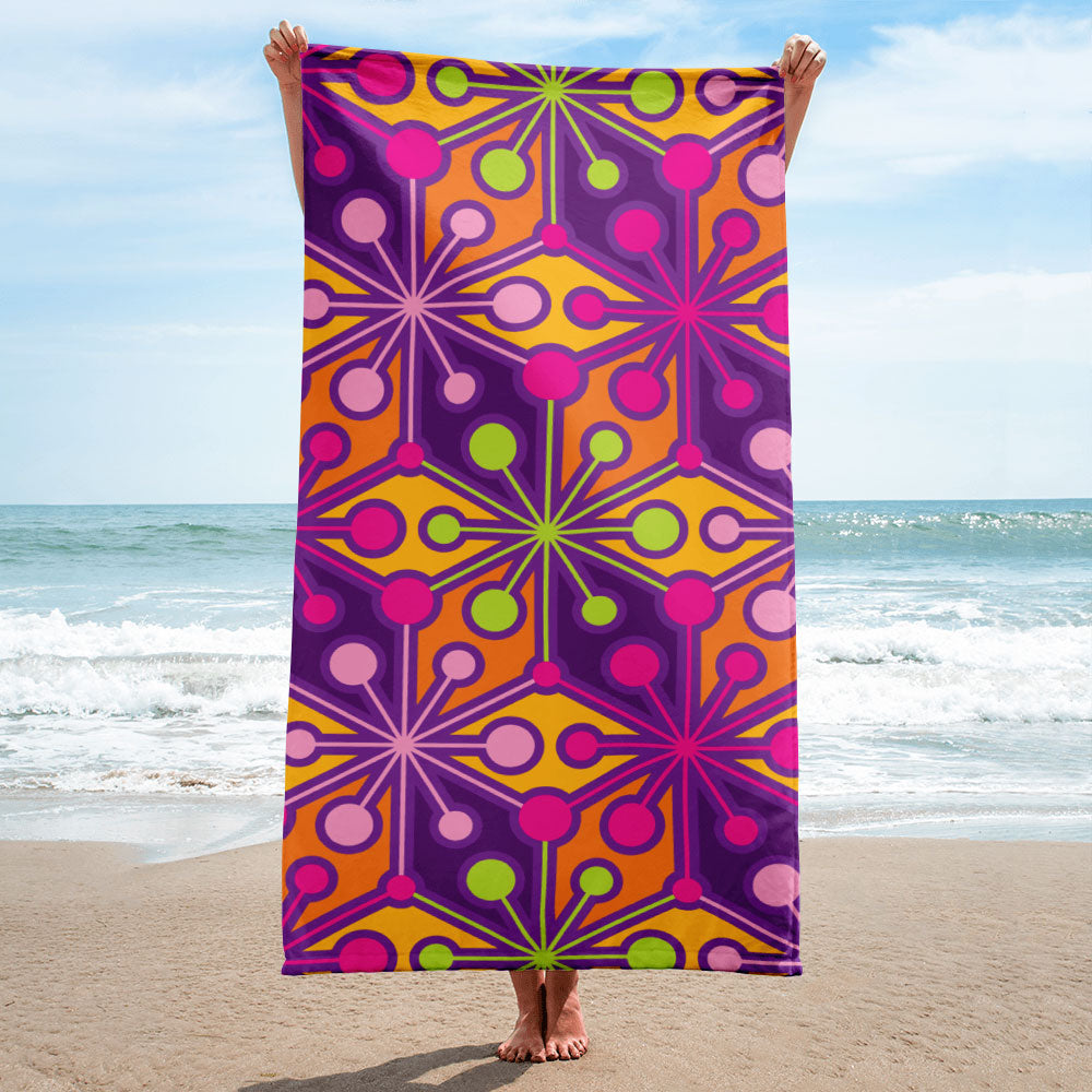 Mid Century Modern Mutlicolour PsychoFlakes Beach and Pool Towel Front View
