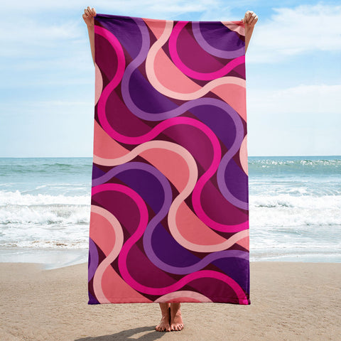 "Mid Century Modern Berry SunKissed Beach & Pool Towel 30"" x 60"" on the beachj"