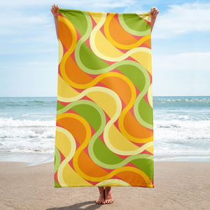 "Mid Century Modern Citrus SunKissed 30"" x 60"" Beach & Pool Towel on the beach"