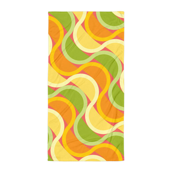 "Mid Century Modern Citrus SunKissed 30"" x 60"" Beach & Pool Towel flat view"
