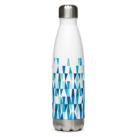 Mid Century Modern Blue Aqua LozAnges 17 oz Stainless Steel Water Bottle front view